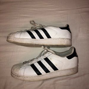 Used Adidas Men Black and white superstars size 8